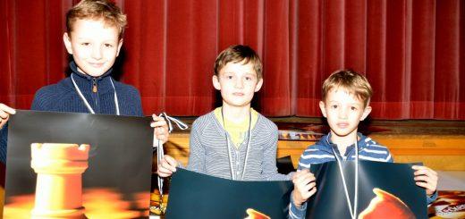Siegerehrung: Enno, Linus und Philipp